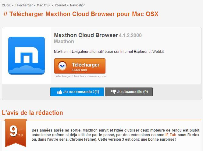 maxthon 3 gratuit clubic